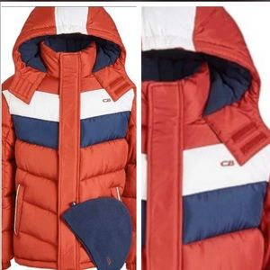 Cb sports red color block puffer coat